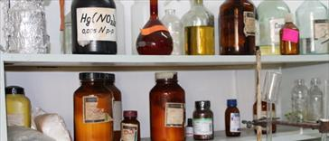 Bottles in a laboratory
